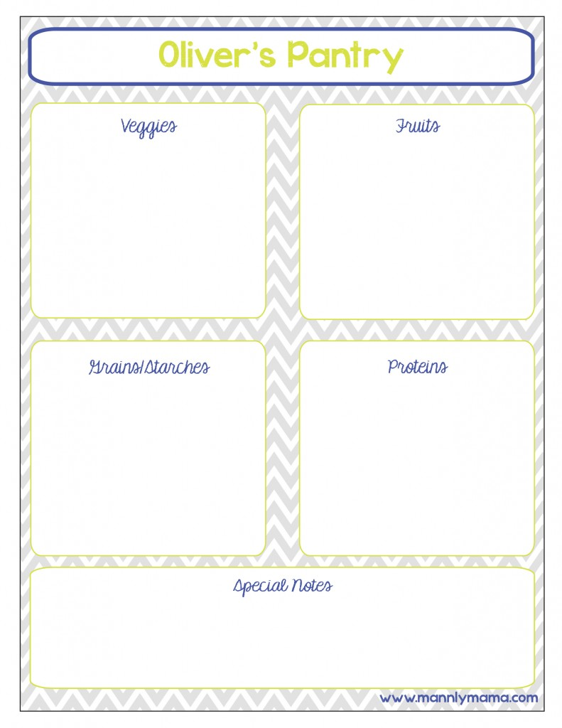 Infant Dinner Pantry Printable