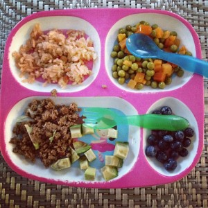 Taco_meat__avocado__Spanish_rice__peas_and_carrots_and_blueberries__toddlerdinners